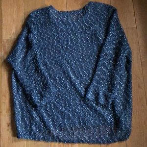 Gray sweater with sparkle sewn in and gold specks